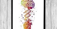 Impresión artística de acuarela, diseño de corazón humano, molécula de ADN