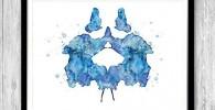 Impresión de acuarela azul para regalo de Doctor en Psicología Rorschach