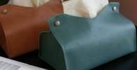 LASISZ Útil Caja de pañuelos de Cuero de PU Funda de servilleta de Papel Funda de Mesa para el hogar Decoración Cajas de pañuelos extraíbles, Azul