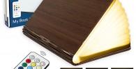 Lampara Libro Plegable de Madera con Mando, 12 Colores y Temporizador
