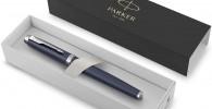 PARKER IM, pluma estilográfica azul mate, con plumín fino y recambio de tinta azul