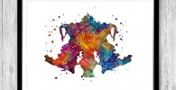 Rorschach Print acuarela colorida pared arte doctor de psicología graduación regalo psicoterapeuta oficina decoración