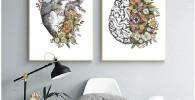 cuadro corazon y cerebro para despacho de psicologo
