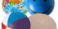 StressCHECK Pelota Anti Estrés - 4 x Bola Anti-Estrés Mezcladas - Carita Sonriente Azul, Atlas, Playa & Cerebro - para ADHD & Autismo